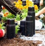 De potten van de tuin Stock Afbeeldingen