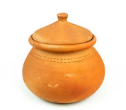 De potten van de waterklei en kokosnotenshell gietlepel/Thais aardewerk Stock Afbeeldingen