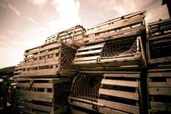 De potten van de zeekreeft in Bonavista Stock Foto
