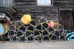 De pottenstapel van de zeekreeft omhoog Stock Foto