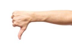 De pouce signe masculin de main vers le bas d'isolement Images libres de droits