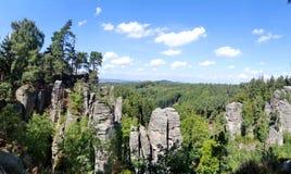 De Prachov-Rotsen (Prachovske skaly), Boheems Paradijs, Tsjechische Republiek stock fotografie