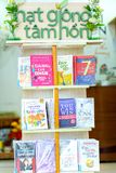 De prachtig verfraaide boeken in de boekbibliotheek Stock Foto