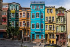 De prachtige districten van Fener en Balat, Istanboel royalty-vrije stock foto's