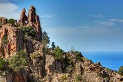 De prachtige kreken van Piana in Corsica Frankrijk stock fotografie