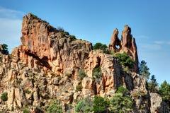 De prachtige kreken van Piana in Corsica Frankrijk stock foto's