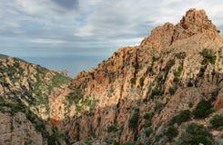 De prachtige kreken van Piana in Corsica Frankrijk stock afbeeldingen