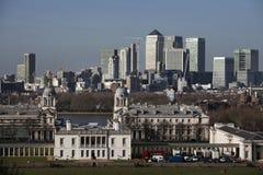 De prachtige mening van het Waarnemingscentrum die van Greenwich in gezichten zoals Docklands en Stad in Londen nemen Royalty-vrije Stock Fotografie