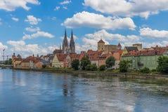 De prachtige Oude Stad van Regensburg, Duitsland royalty-vrije stock afbeelding