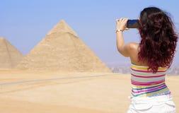 De prachtige Piramides van Giza in Kaïro, Egypte royalty-vrije stock foto