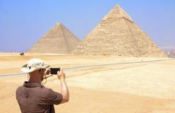 De prachtige Piramides van Giza in Kaïro, Egypte stock afbeelding