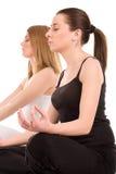 De praktijk van de yoga Stock Afbeeldingen