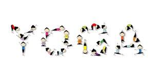 De praktijk van de yoga, concept voor uw ontwerp Royalty-vrije Stock Afbeeldingen