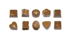 De pralines en de truffels van de chocolade Stock Afbeeldingen