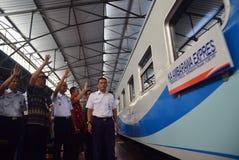 De première van Ambarawa-sneltreinreis Stock Foto