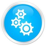 De premie cyaan blauwe ronde knoop van het toestellenpictogram Royalty-vrije Stock Foto's