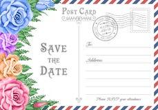 De prentbriefkaar bewaart de Datum stock illustratie