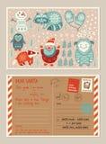 De prentbriefkaar en de envelop van de Kerstmisvakantie met leuke zegels vector illustratie