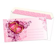 De prentbriefkaar en de envelop van de valentijnskaart/vector Stock Foto