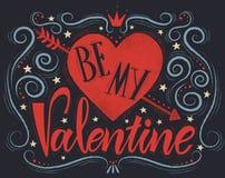De prentbriefkaar met hartsilhouet en tekst is mijn Valentine Stock Foto's