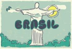 De prentbriefkaar van Brazilië Stock Illustratie