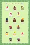 De prentbriefkaar van cakes Stock Afbeelding