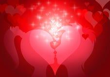 De prentbriefkaar van de Dag van de valentijnskaart Royalty-vrije Stock Afbeeldingen