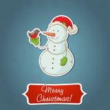 De prentbriefkaar van de de sneeuwmanuitnodiging van Kerstmis Stock Foto's