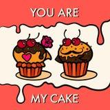 De prentbriefkaar van de de Valentijnskaartendag van cakesminnaars Stock Foto's