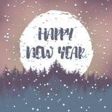 De prentbriefkaar van de de wintergroet met wensen voor een gelukkig nieuw jaar Vector Stock Afbeeldingen