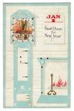De Prentbriefkaar van de Groet van het uitstekende Nieuwjaar stock afbeelding