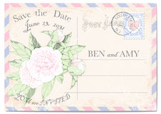De prentbriefkaar van de huwelijksuitnodiging met pioenen, kleurrijk kader, een port-zegel, een zegel, krassen en vlekken Vector  Royalty-vrije Illustratie