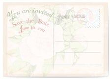 De prentbriefkaar van de huwelijksuitnodiging pioenen op roze achtergrond Vector illustratie Royalty-vrije Illustratie