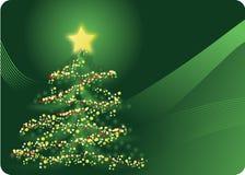 De prentbriefkaar van de kerstboom Stock Afbeeldingen