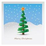 De prentbriefkaar van de kerstboom Stock Afbeelding