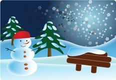 De prentbriefkaar van de sneeuwman Royalty-vrije Stock Fotografie