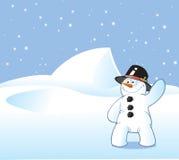 De Prentbriefkaar van de sneeuwman Royalty-vrije Stock Foto's