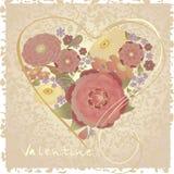 De prentbriefkaar van de valentijnskaart Stock Afbeeldingen