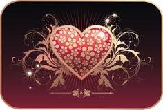 De prentbriefkaar van de valentijnskaart Stock Foto