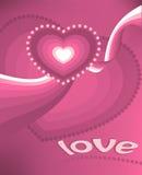 De prentbriefkaar van de valentijnskaart - Roze harten Royalty-vrije Stock Afbeeldingen