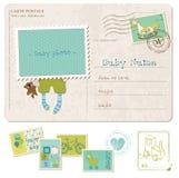 De Prentbriefkaar van de Verjaardag van de Jongen van de baby met reeks zegels Royalty-vrije Stock Afbeelding