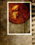 De prentbriefkaar van Grunge met bloem vector illustratie