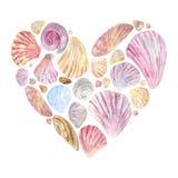 De prentbriefkaar van de hartvorm met waterverfshells vector illustratie