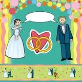 De prentbriefkaar van het huwelijk stock illustratie