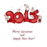 De prentbriefkaar van het nieuwe jaar Royalty-vrije Stock Afbeeldingen