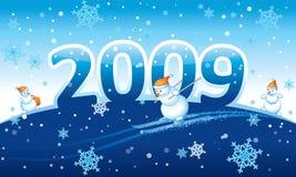 De prentbriefkaar van het nieuwjaar 2009 Stock Afbeelding