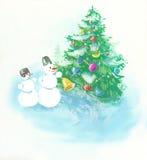 De prentbriefkaar van Kerstmis Stock Afbeeldingen