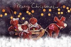 De prentbriefkaar van Kerstmis Herten met familie op slee stock afbeeldingen