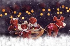 De prentbriefkaar van Kerstmis Herten met familie op slee stock afbeelding
