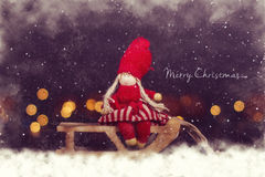 De prentbriefkaar van Kerstmis Meisje op ar stock foto's